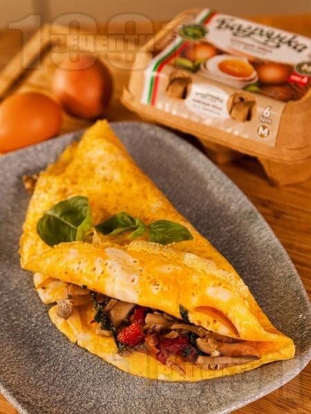 Омлет с гъби кладница и мариновани сушени домати - снимка на рецептата